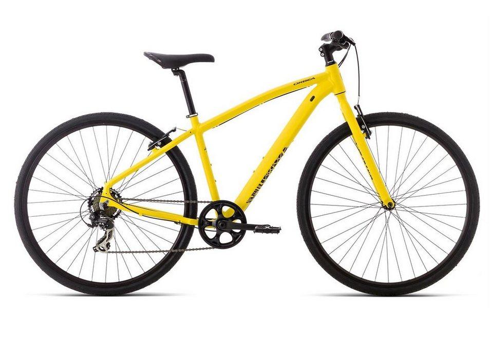 Fitnessbike Herren, 28 Zoll, 7 Gang Shimano TX35, gelb, »Urban 10«, ORBEA, mit Scheibenbremsen in gelb