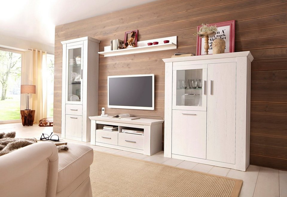 home affaire wohnwand garden mit vitrine highboard tv board und wandregal 4 tlg online. Black Bedroom Furniture Sets. Home Design Ideas