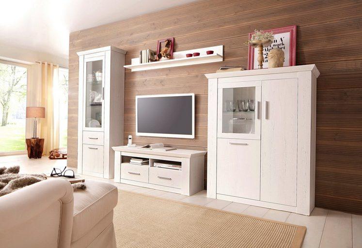 home affaire wohnwand garden mit vitrine highboard tv