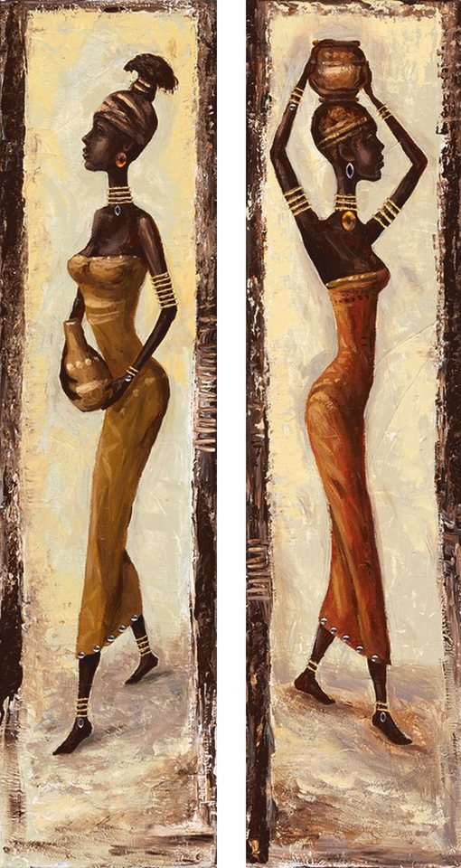 Bild, Kunstdruck, Home affaire, »A. S.: African woman I, -II«, 2x 19/74 cm in Creme