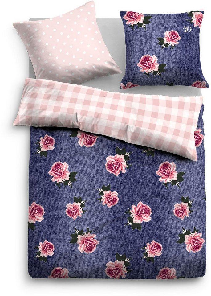 Wendebettwäsche, Tom Tailor, »Denim Rose«, mit Rosen in blau-rosa