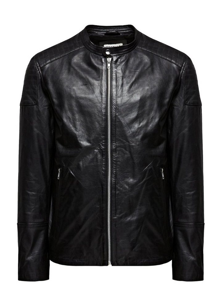 Jack & Jones Classic Leather jacket in Black