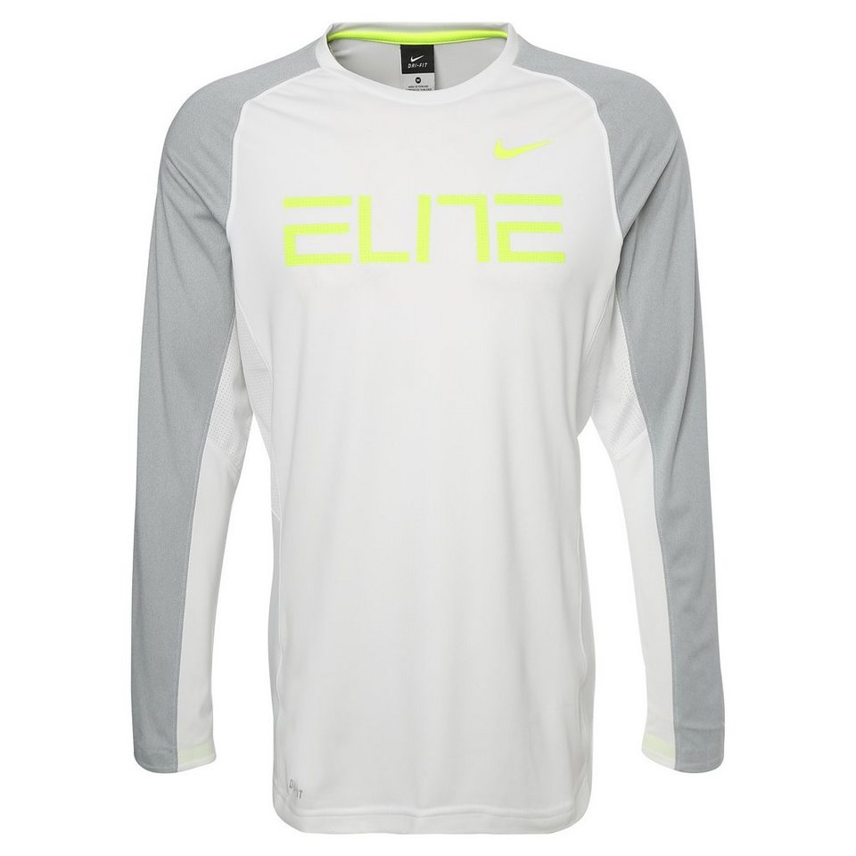 NIKE Elite Fearless Trainingsshirt Herren in weiß / grau / lime