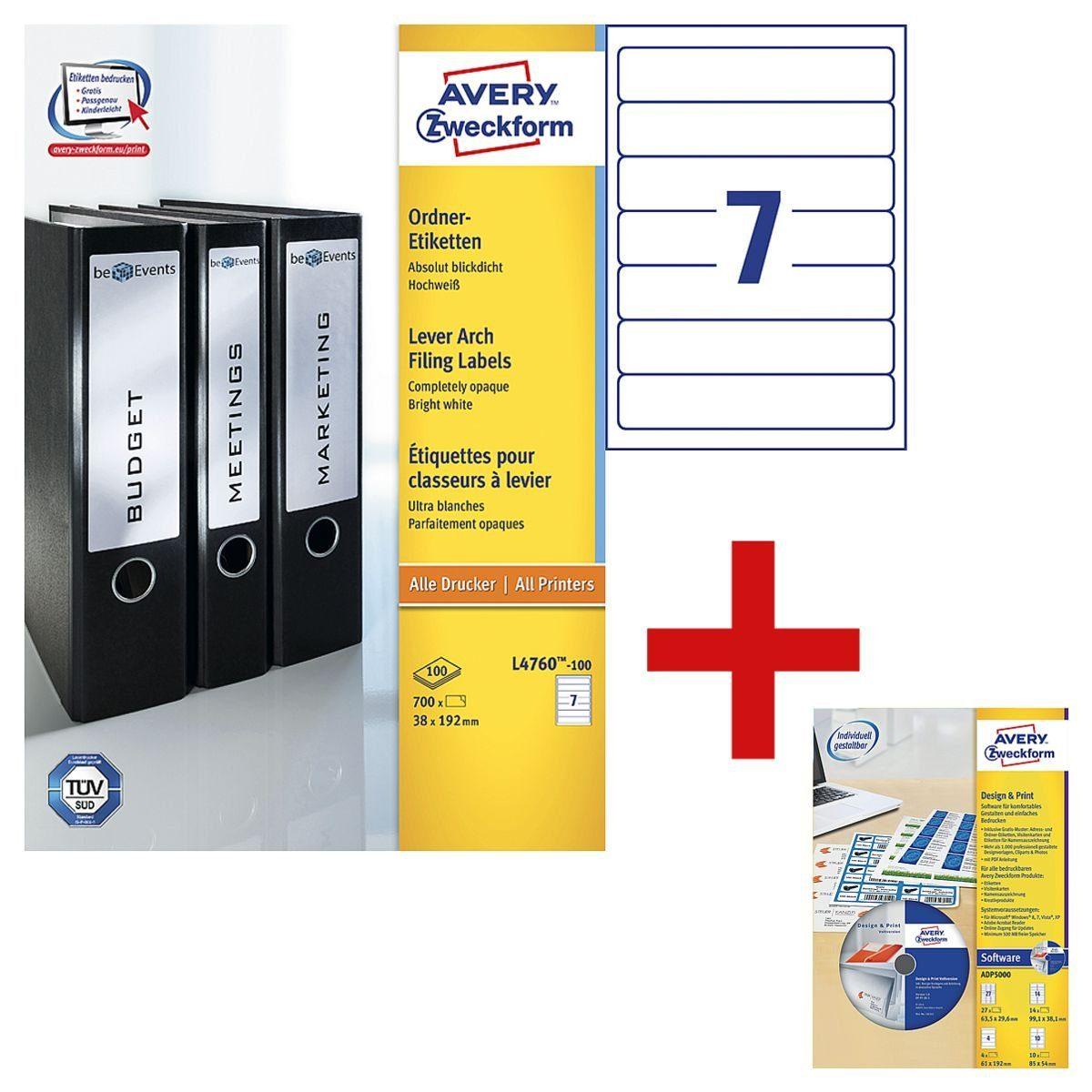 ZWECKFORMAVERY Ordnerrücken-Etiketten inkl. Software »Design Pro« 1 Set