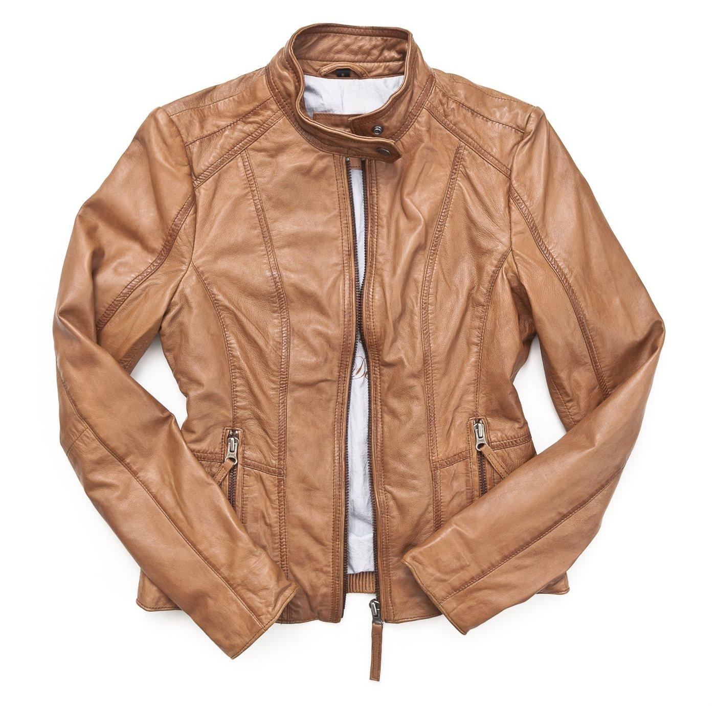 Mustang Lederjacke, Damen »Sanibel« | Bekleidung > Jacken > Lederjacken & Kunstlederjacken | Braun | Baumwolle - Polyester | MUSTANG