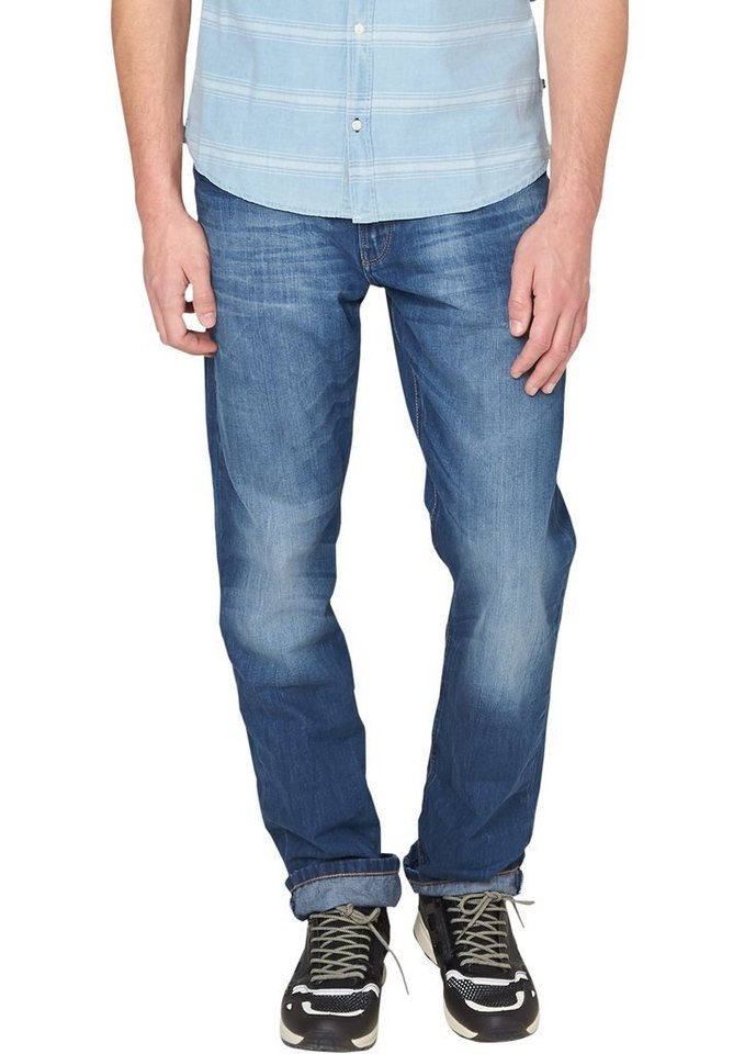 s.Oliver Denim Pete Straight: Used-Jeans in azur