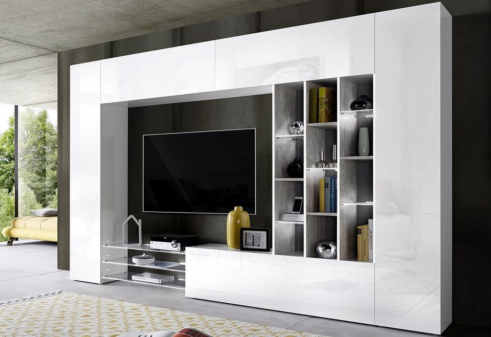 tecnos wohnwand 6 tlg online kaufen otto. Black Bedroom Furniture Sets. Home Design Ideas
