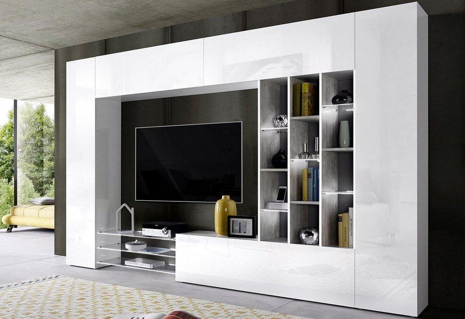 tecnos wohnwand 6 tlg hochglanz fronten online kaufen. Black Bedroom Furniture Sets. Home Design Ideas