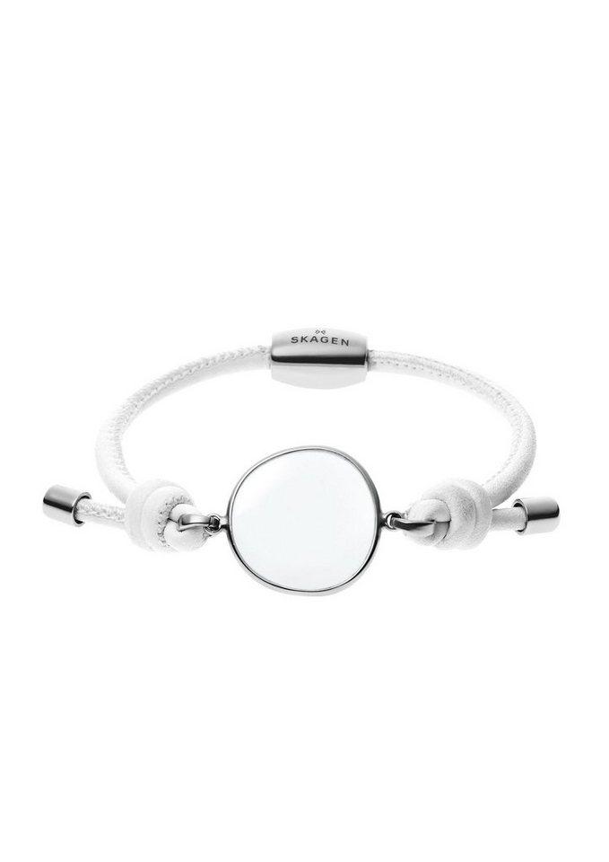Skagen, Lederarmband, »Sea Glass, SKJ0574040« in silberfarben/weiß
