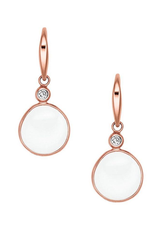 Skagen, Paar Ohrhaken, »Sea Glass, SKJ0590791« in roségoldfarben/weiß