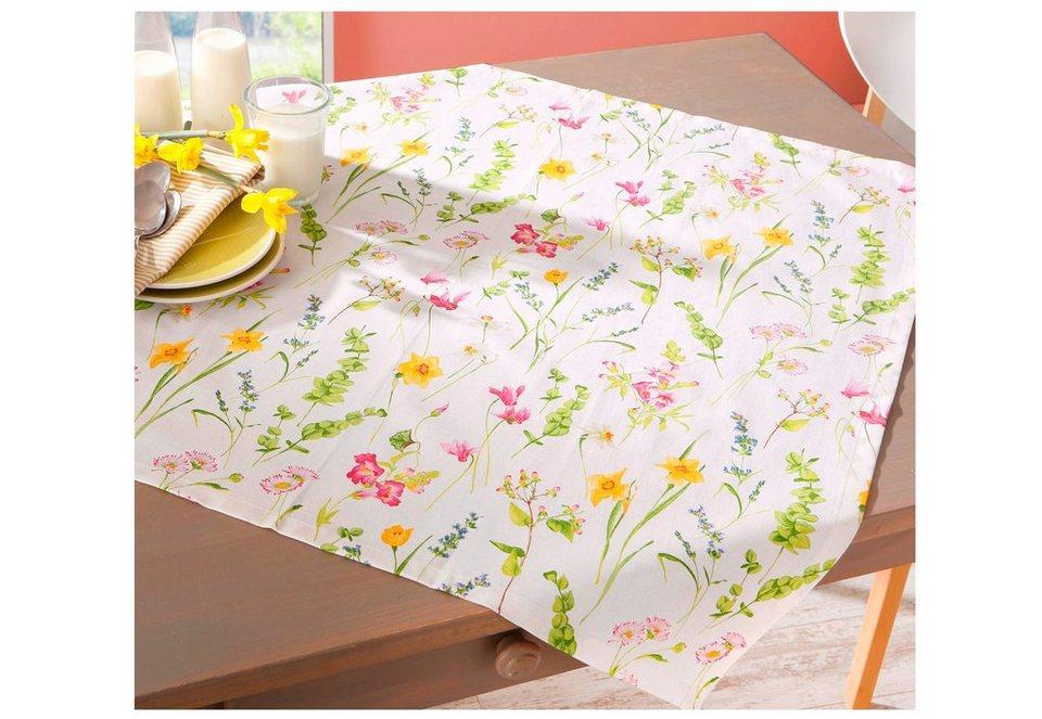 Tischwäsche in Weiß, mit erfrischendem Blumendesign