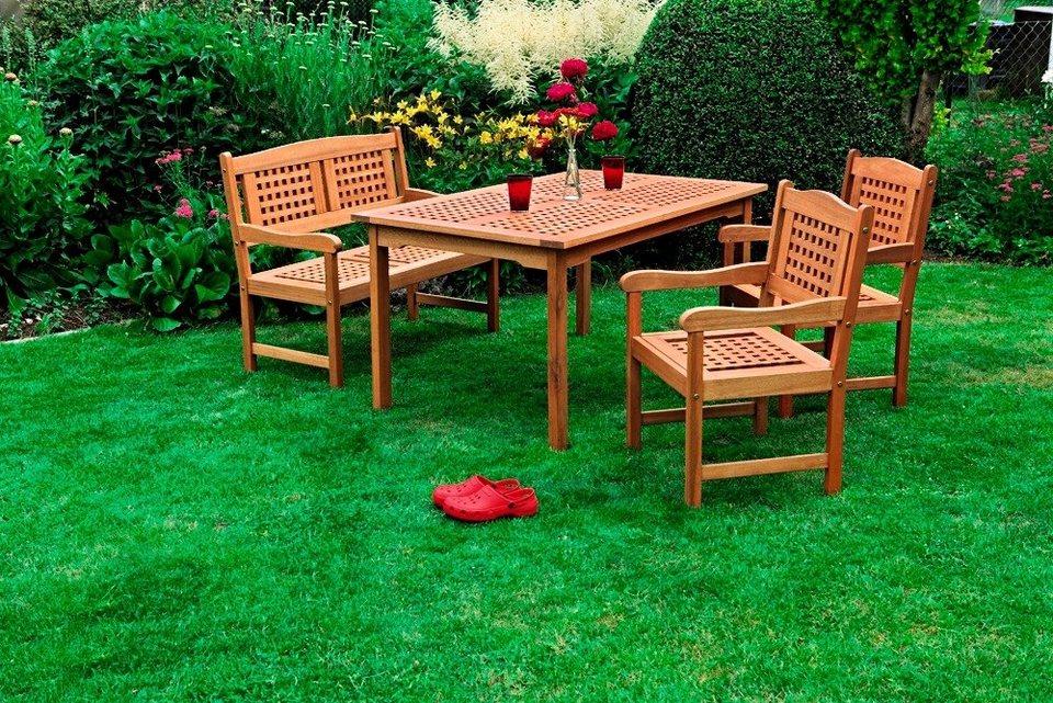 4-tgl. Gartenmöbelset »Lima«, 2 Sessel, Bank, Tisch 150 x 90 cm, Holz, braun in braun