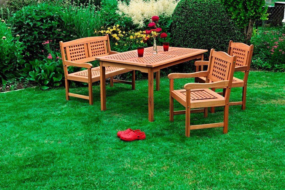 4-tgl. Gartenmöbelset »Lima«, 2 Sessel, Bank, Tisch 150 x 90 cm, Holz, braun