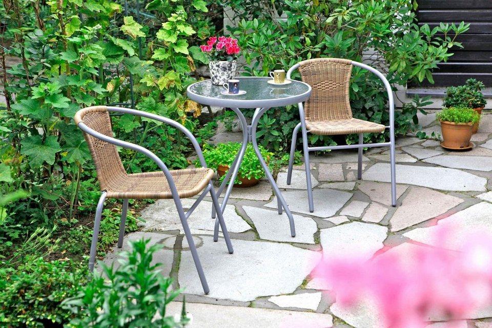 3-tgl. Gartenmöbelset »Alassio«, 2 Sessel, TischØ60 cm, Polyrattan, Stahl in braun