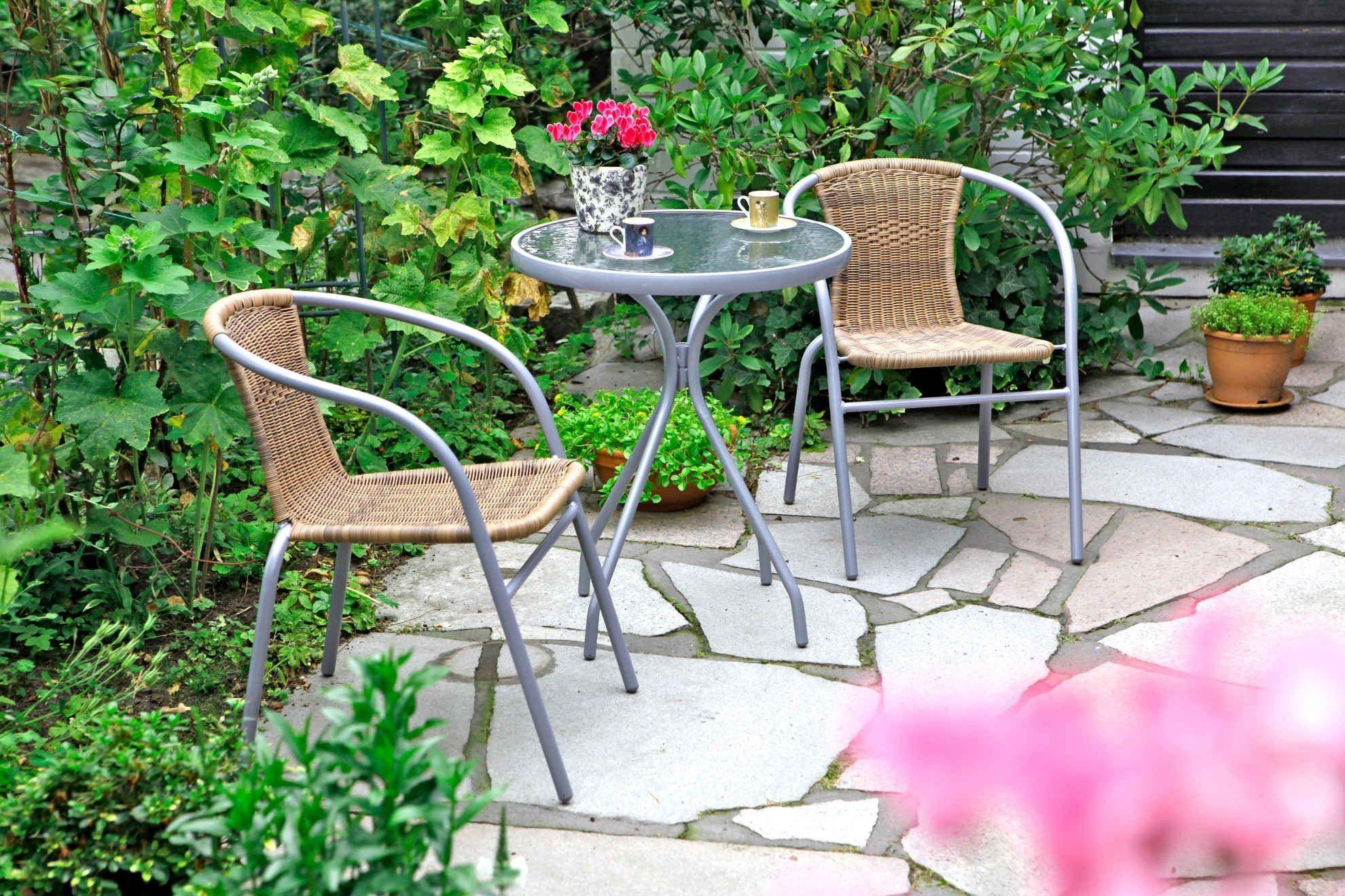3-tgl. Gartenmöbelset »Alassio«, 2 Sessel, TischØ60 cm, Polyrattan, Stahl