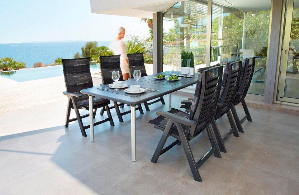 best 13-tgl. gartenmöbelset »tavolo«, 6 sessel, tisch 160x220 cm,