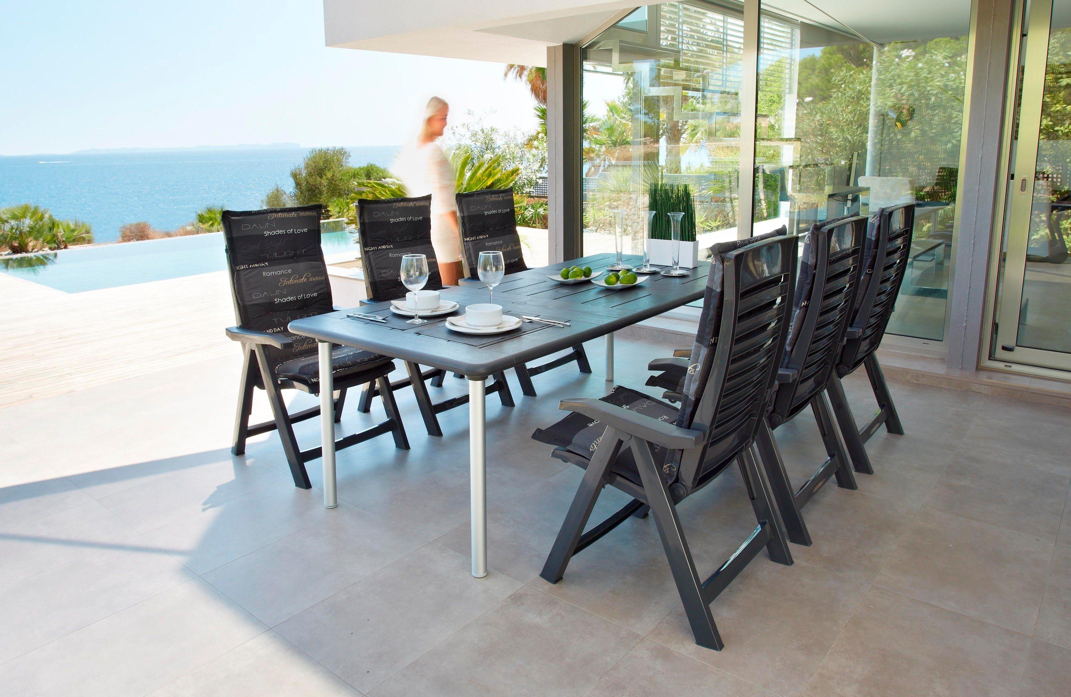 Best 13-tgl. Gartenmöbelset »Tavolo«, 6 Sessel, Tisch 160x220 cm, Kunststoff, anthrazit, inkl. Auflagen