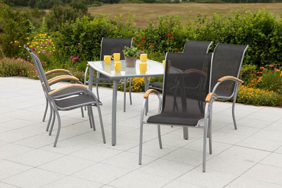 7 tgl gartenm belset siena 6 sessel 1 tisch 150x90cm alu textil stapelbar online kaufen. Black Bedroom Furniture Sets. Home Design Ideas