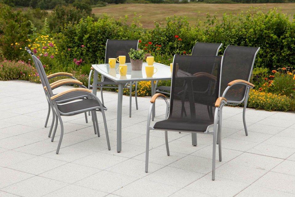 Gartenmobel Set Stern :  mit Holzarmlehnen, Tisch 150x90cm, AluTextil online kaufen  OTTO