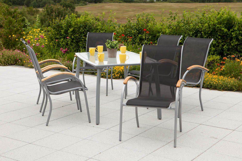 7-tlg. Gartenmöbelset »Siena«, 6 Sessel, 1 Tisch 150x90cm, Alu/Textil, stapelbar