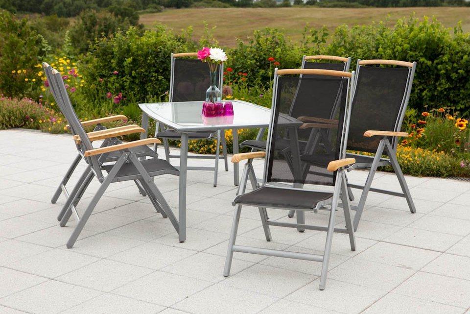 7-tgl. Gartenmöbelset »Siena«, 6 Klappsessel mit Holzarmlehnen, 1 Tisch 150x90 cm, Alu/Textil in schwarz
