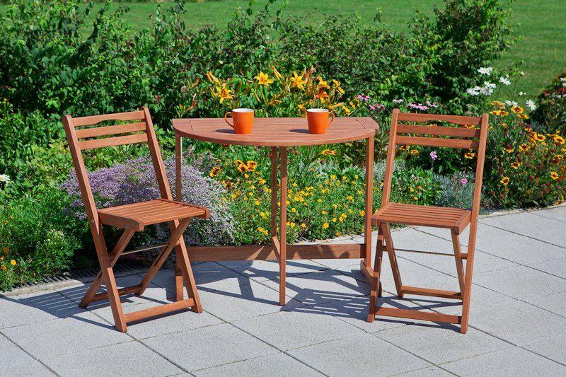 3-tgl. Gartenmöbelset »Porto«, 2 Klappstühle, Klapptisch60x90 cm, Eukalyptusholz, braun