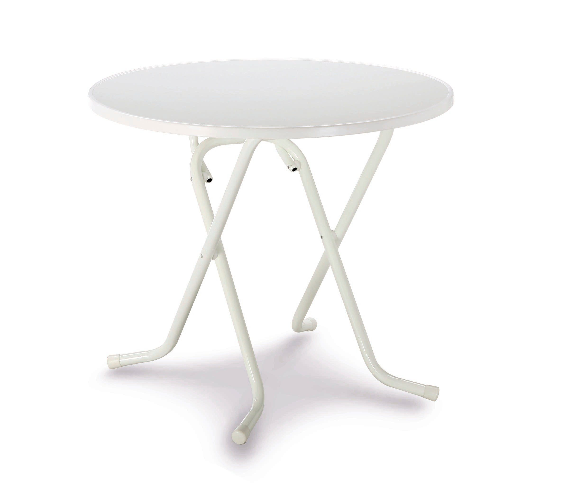 BEST Gartentisch , Stahl/Kunststoff, klappbar, Ø 80 cm, weiß