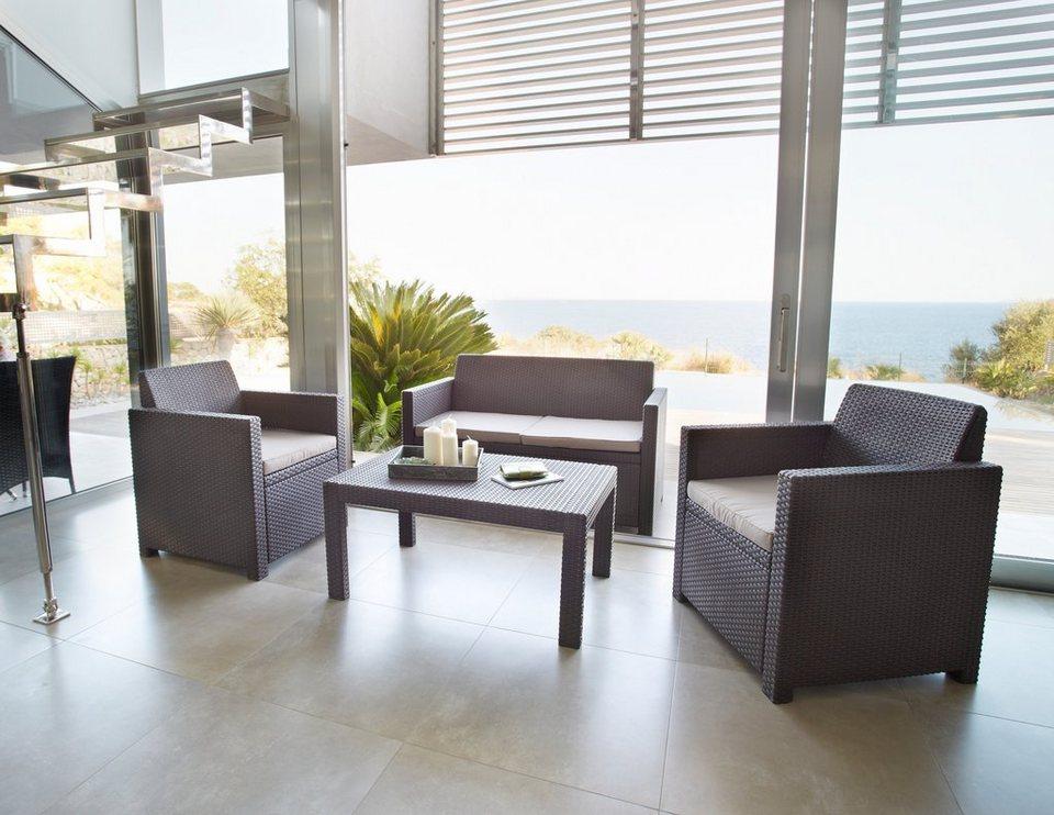 8-tgl. Loungeset »Merano«, 2er-Sofa, 2 Sessel, Tisch 91x48,5 cm, Kunststoff, braun in braun