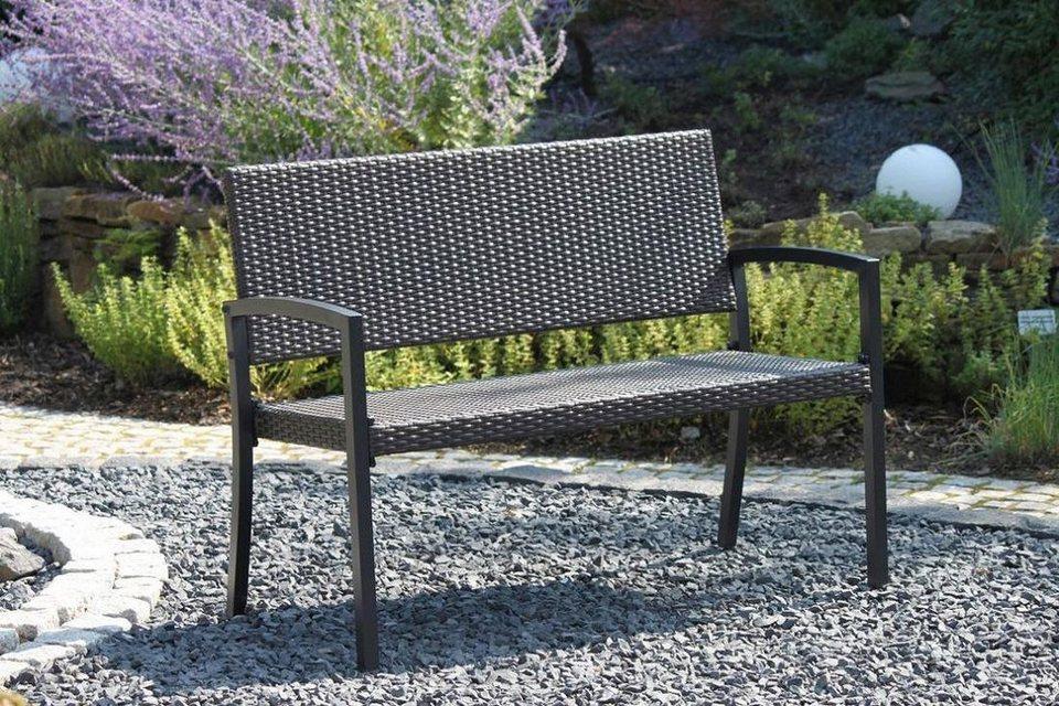 gartenbank sanremo polyrattan 118x60x87 cm dunkelbraun online kaufen otto. Black Bedroom Furniture Sets. Home Design Ideas
