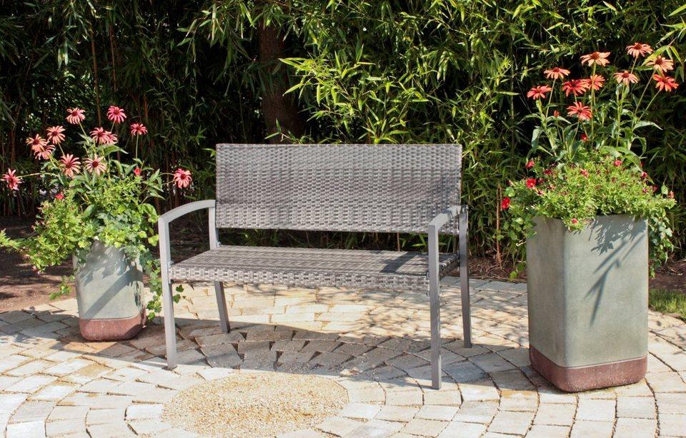 Gartenbank »Sanremo«, Polyrattan/Alu, 118x60x87 cm, dunkelgrau ...