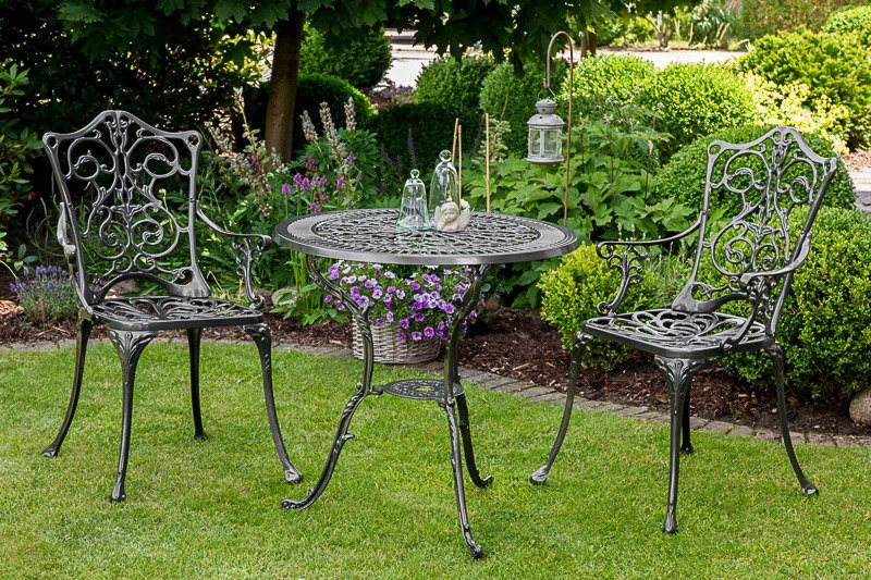 3-tgl. Gartenmöbelset »Lugano«, 2 Sessel, Tisch Ø70 cm, Aluminium, grau in grau