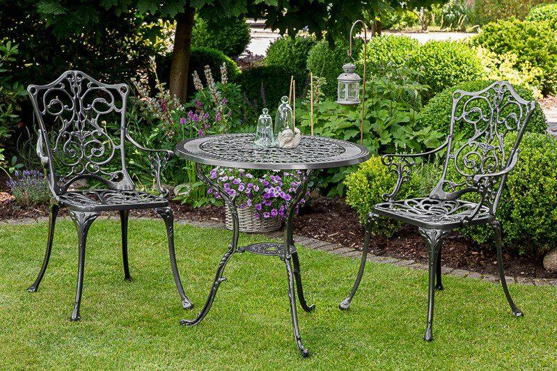 3-tgl. Gartenmöbelset »Lugano«, 2 Sessel, Tisch Ø70 cm, Aluminium, grau