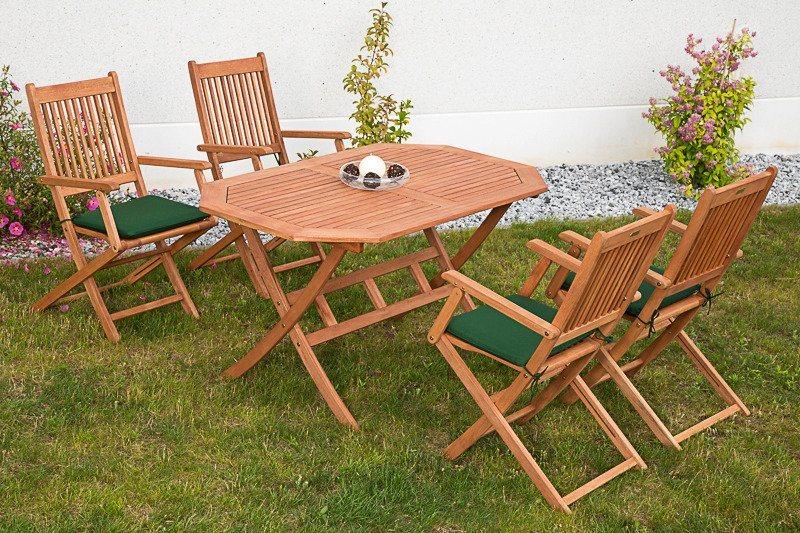 9-tgl. Gartenmöbelset »Rio«, 4 Klappsessel, Tisch 135x85 cm, Eukalyptus, braun in braun