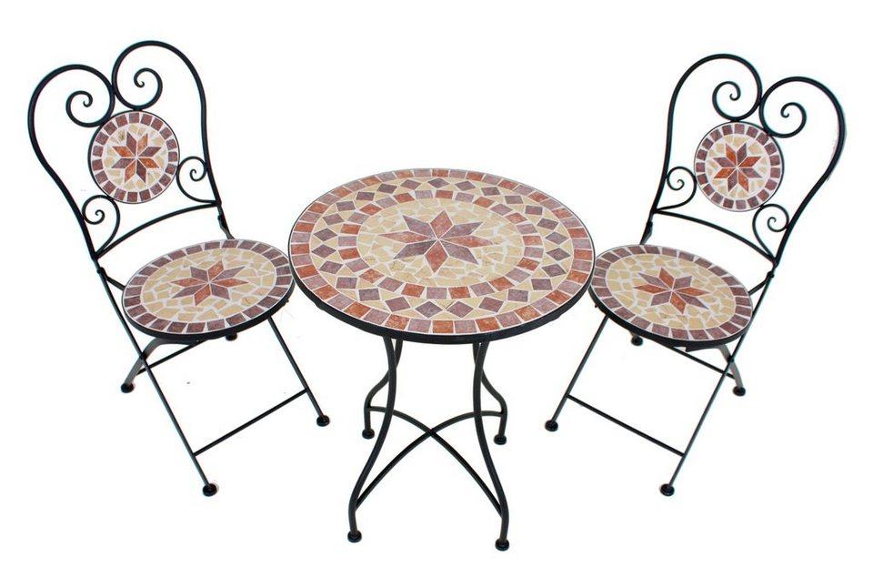 3-tgl. Gartenmöbelset »Mosaik«, 2 Stühle,Tisch Ø60 cm,Stahl, braun-grau in braun/grau