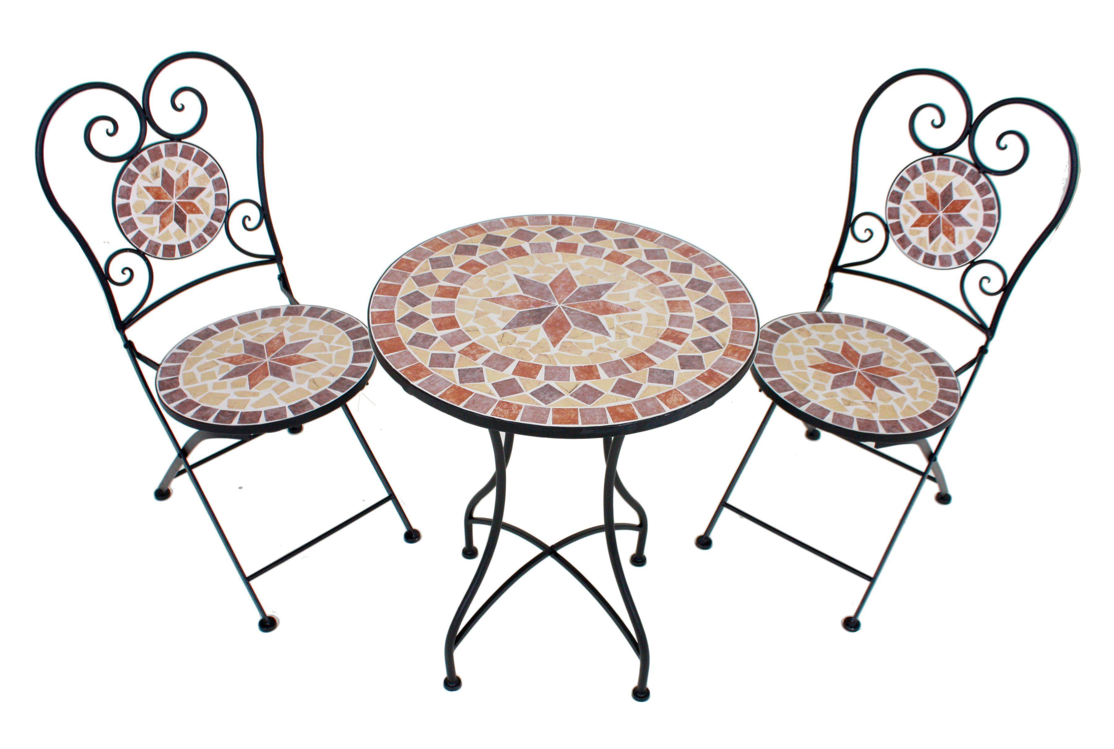 3-tlg. Gartenmöbelset »Mosaik«, 2 Stühle,Tisch Ø60 cm,Stahl, braun-grau