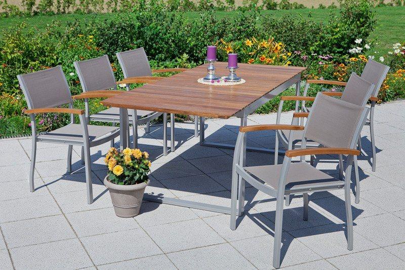 Merxx Gartenmobelset Naxos 7 Tlg 6 Sessel Tisch 90x200 Cm