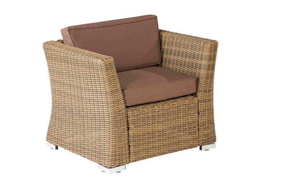 Lounge sessel braun  Loungesessel »Luxor«, Polyrattan, inkl. Auflagen, braun online ...