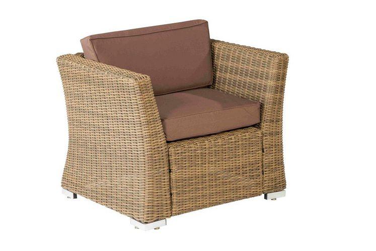 loungesessel luxor polyrattan inkl auflagen braun. Black Bedroom Furniture Sets. Home Design Ideas