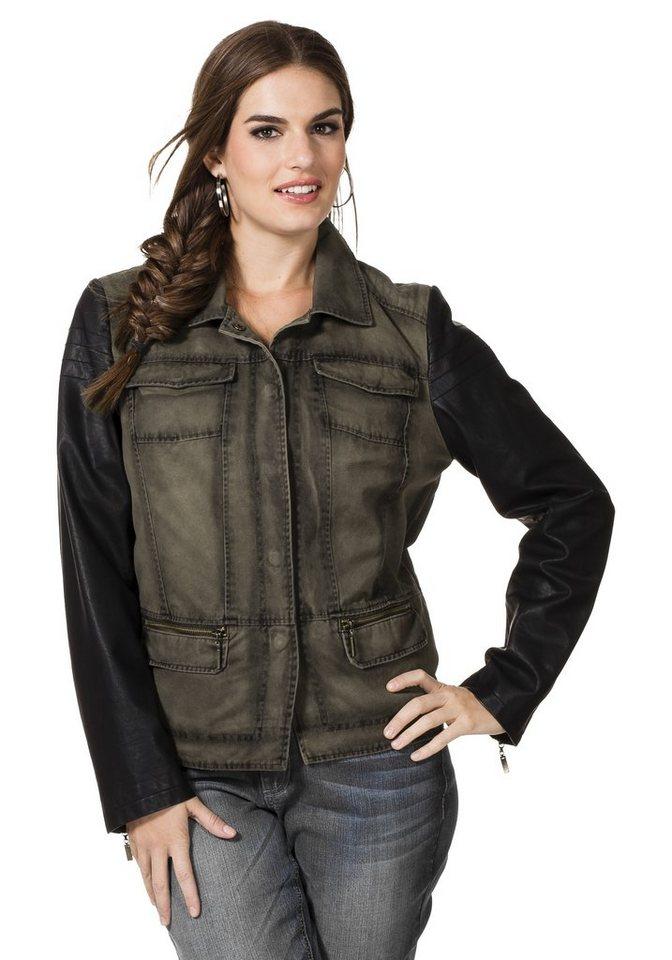 sheego Trend Jacke mit Lederimitat-Ärmeln in khaki-schwarz