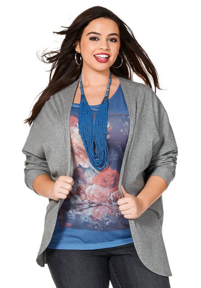 sheego Trend Shirtjacke mit Rückennaht in grau meliert