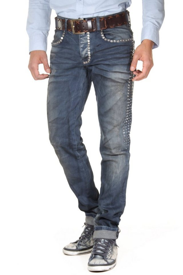 KINGZ Stretchjeans slim fit in weiss
