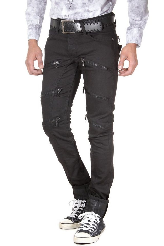 KINGZ Stretchjeans slim fit in schwarz