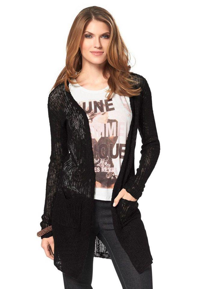 Aniston Cardigan in Longform in schwarz