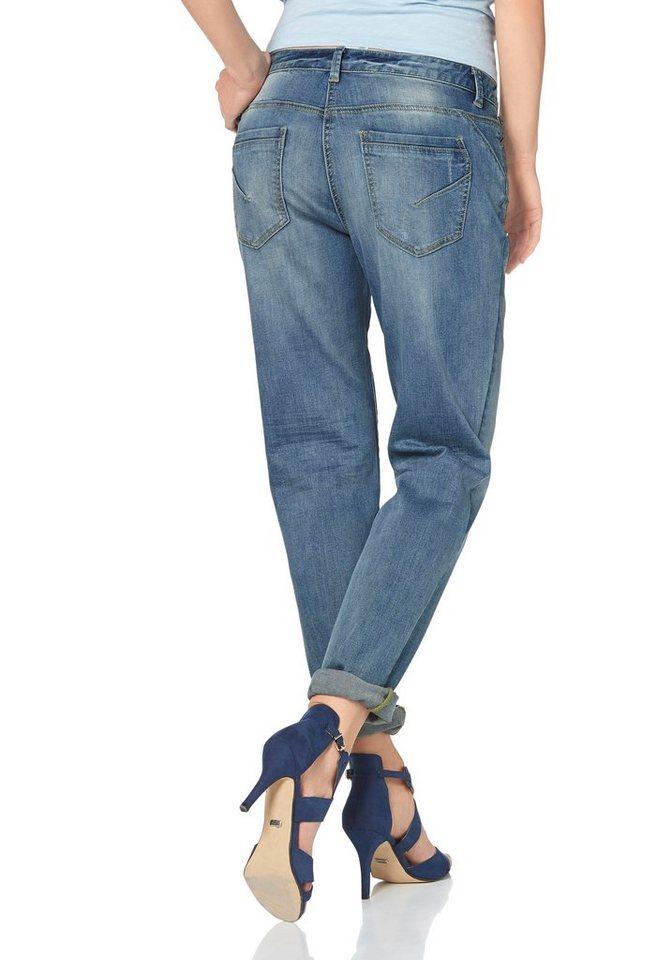 Aniston Boyfriend-Jeans mit Knopfverschluss in blue