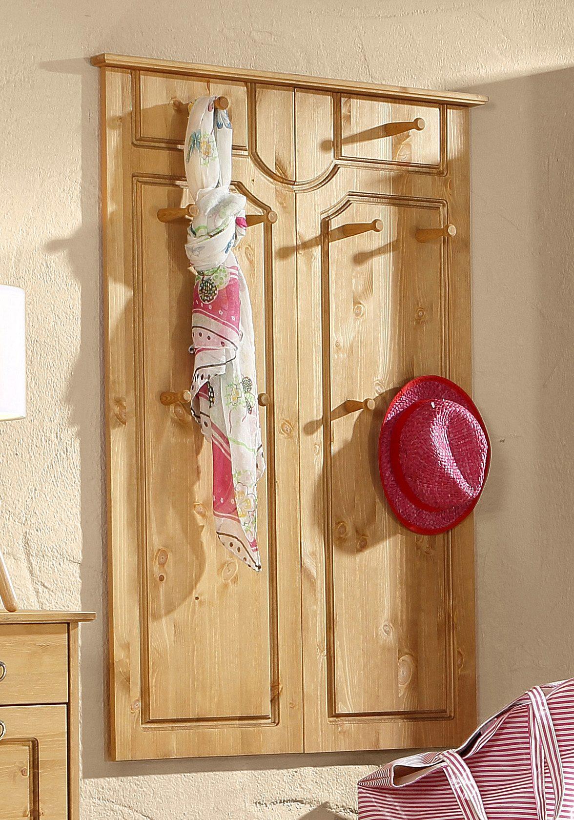Kompaktgarderobe Garderobe Paneel 2 Schubladen Spiegel Kiefer gebeizt geölt