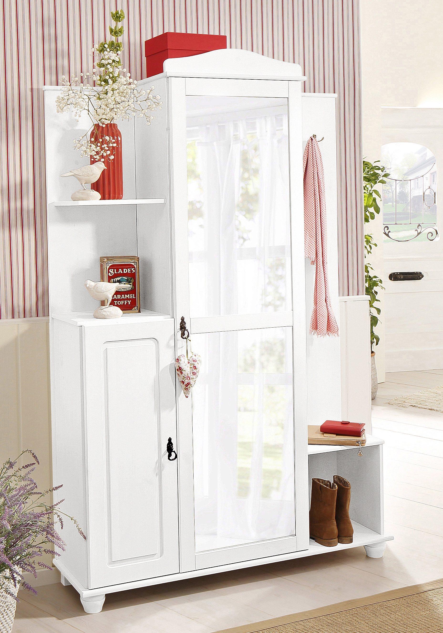 Kompaktgarderobe, Home affaire, »Finca« | Flur & Diele > Garderoben > Garderobenschränke | Weiß - Glanz | Lackiert - Holz - Massiver - Poliert | Home affaire