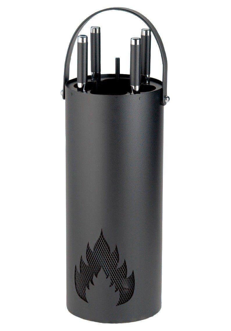 Kaminbesteck »Eisen beschichtet«, Set 4 tlg., im Eimer mit Flammenmuster