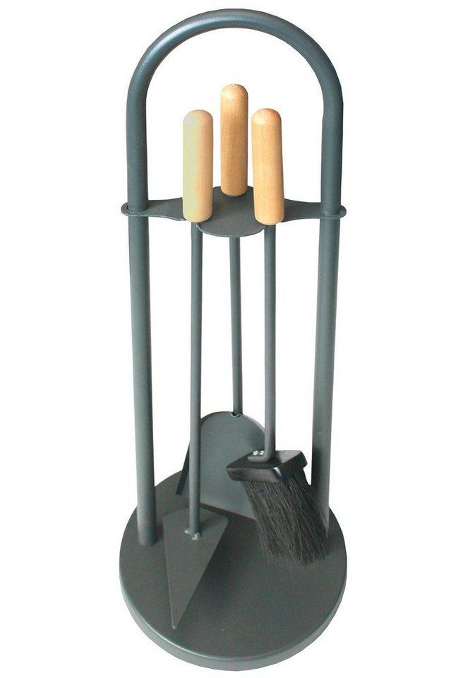 Kaminbesteck »Eisen beschichtet«, Set 3 tlg., Griffe aus Holz, Tragegriff in grau