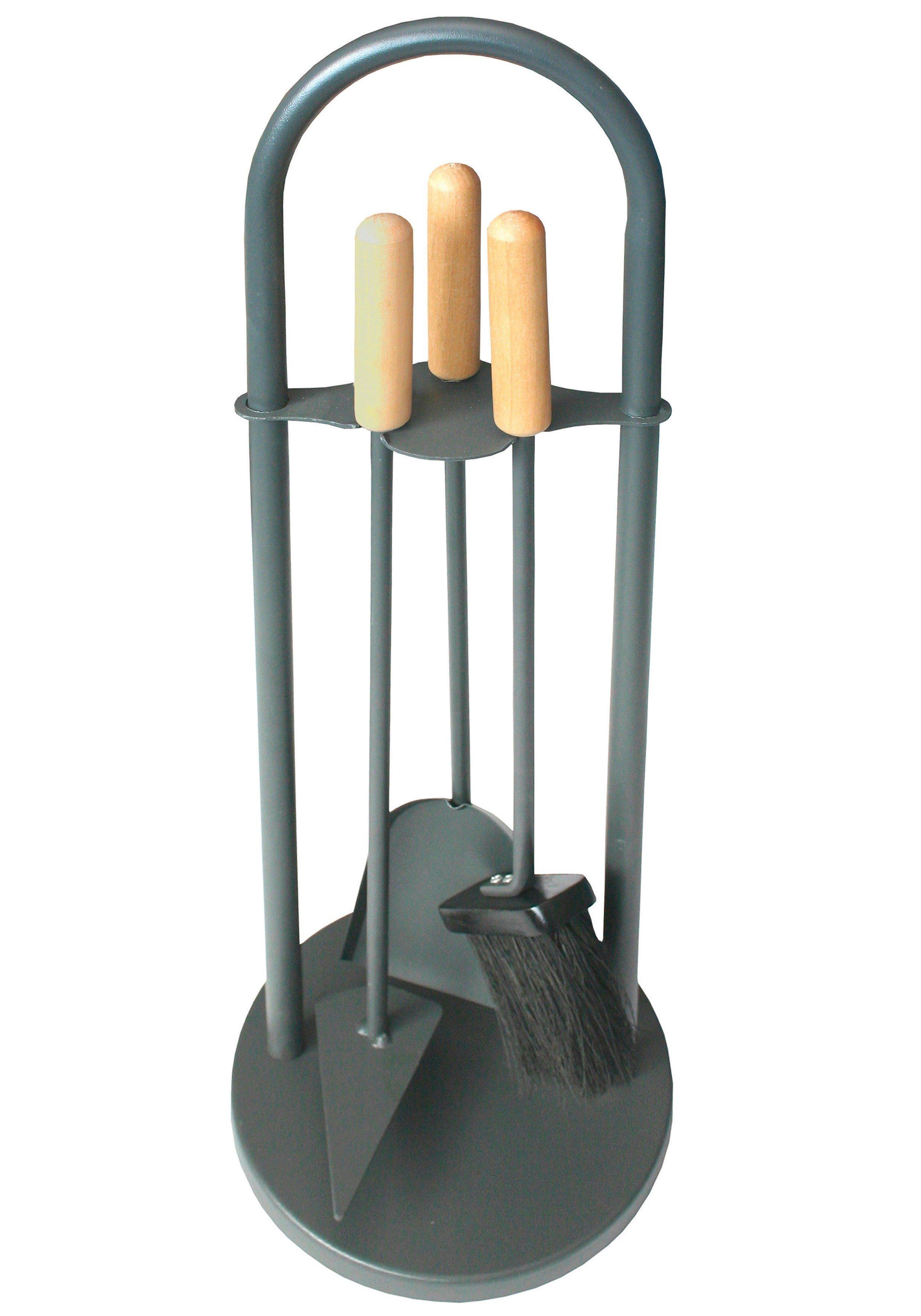Südmetall Kaminbesteck »Eisen beschichtet«, Set 3 tlg., Griffe aus Holz, Tragegriff