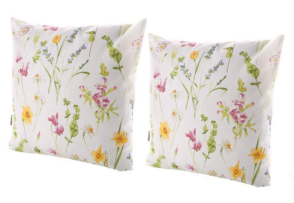 Kissenhüllen-Set, 2-teilig in Weiß, mit erfrischendem Blumendesign